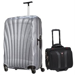"28"" Black Label Cosmolite Spinner (Silver) + Wenger Laptop Boarding Bag"
