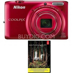 COOLPIX S6500 Camera w/12x Zoom & Wi-Fi (Red) + Adobe LR5