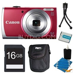 Powershot A2500 Red Digital Camera 16GB Bundle