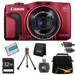 PowerShot SX700 HS 16.1MP HD 1080p Digital Camera Red Ultimate Kit