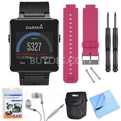 vivoactive GPS Smartwatch - Black (010-01297-00) Berry Replacement Band Bundle