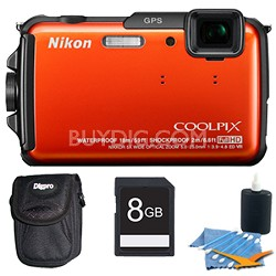 COOLPIX AW110 16MP Water/Shock/Freezeproof Orange Digital Camera Plus 8GB Kit