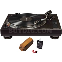 Direct Drive Turntable with S-Shaped Tone Arm Black w/ Record Cleaner