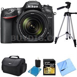 D7200 DX-format Black Digital SLR Camera Kit with 18-140mm VR Lens 32GB Bundle
