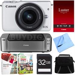 EOS M10 Mirrorless Camera w/ EF-M 15-45mm f/3.5-6.3 IS STM Lens Printer Bundle