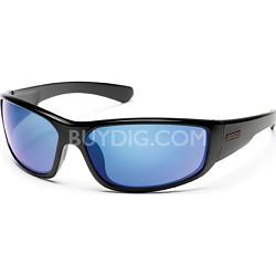 Pursuit Sunglasses Black Frame/Blue Mirror Polarized Lens