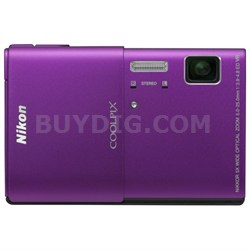 COOLPIX S100 16MP Purple Compact Digital Camera w/ 3.5in Touch Screen Refurb