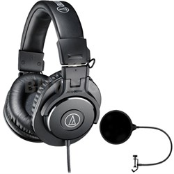 ATH-M30x Professional Headphones w/ Pop Filter Microphone