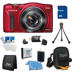 FinePix F770EXR 16MP EXR CMOS Digital Camera 16 GB Bundle (Red)