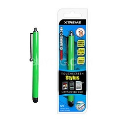 Basic Touch Screen Stylus w/ Micro Fiber Cloth Green
