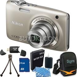 COOLPIX S3100 14MP Silver Compact Digital Camera 8GB Bundle