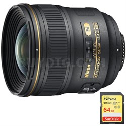 24mm F/1.4G ED AF-S Wide-Angle Lens with Sandisk 64GB Memory Card