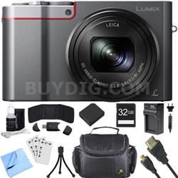 ZS100 LUMIX 4K 20 MP Digital Camera - Silver (DMC-ZS100S) 32GB SDHC Card Bundle