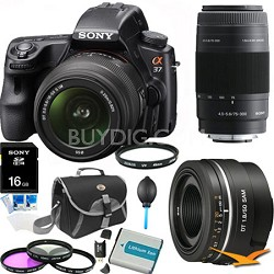Alpha SLT-A37K 16.1 MP 16,000 ISO SLR Kit w/18-55, 75-300, 50mm f1.8 Lens Bundle