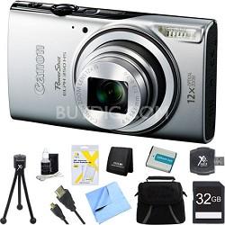 Powershot ELPH 350 HS Silver Digital Camera and 32GB Card Bundle