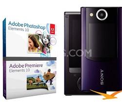 MHS-FS2 Bloggie Duo HD 4GB Purple Camera Camcorder w/ 2 LCD Screens Adobe Bundle