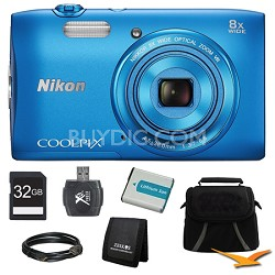 "COOLPIX S3600 20.1MP 2.7"" LCD 720p HD Video Digital Camera Blue Ultimate Kit"