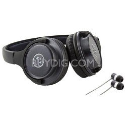 Musician's Choice Stereo Headphone Plus Sound Isolation Earbuds - Gun Metal