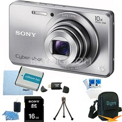 Cyber-shot DSC-W690 16MP 10X Zoom 720p Video Digital Camera (Silver) 16GB Bundle