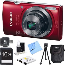 PowerShot ELPH 160 20MP 8x Opt Zoom HD Digital Camera - Red 16GB Bundle