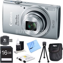 PowerShot ELPH 170 IS 20MP 12x Opt Zoom Digital Camera - Silver 16 GB Bundle