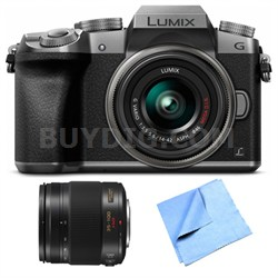 LUMIX G7 Interchangeable Lens Silver DSLM Camera 14-42mm and 35-100 Lens Bundle