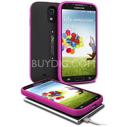 Aero Battery Case Cover with Wireless Charging Mat for Galaxy S4 - Black/Magenta
