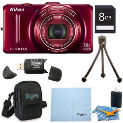 COOLPIX S9300 16MP 18x Opt Zoom 3.0 LCD Digital Camera 8GB Red Bundle
