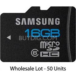 High Speed 16GB microSD Class 6 Memory Card Wholesale Lot - 50 UNITS