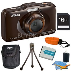 COOLPIX S31 10.1MP 720p HD Video Waterproof Digital Camera - Brown Plus 16GB Kit