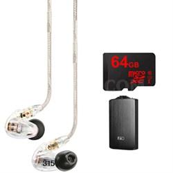 SE315 Earphones (Clear) w/HD MicroDriver & Tuned BassPort, FiiO A3 Amp Bundle