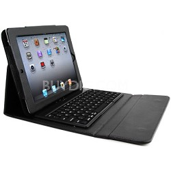 Faux Leather Case with Built-in Bluetooth Keyboard for iPad 2, 3, & 4 - Black