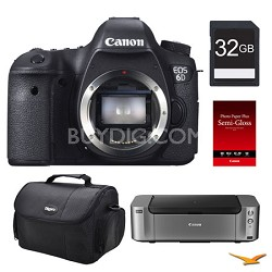 EOS 6D DSLR Camera (Body Only), 32GB, Printer Bundle - $400 Mail-In Rebate