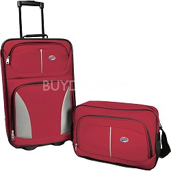"Fieldbrook 2 Piece Luggage Set with 21"" Upright and 15"" Boarding bag (Red)"
