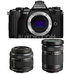 OM-D E-M5 Mark II Black Digital Camera with 14-42mm and 40-150mm Lens Bundle