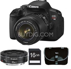 EOS Digital Rebel T4i 18MP Camera w/ 18-55mm IS and 40mm STM Lenses + 16GB Card