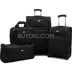 "Premium 4 Piece Lightweight Set (20"" & 28"" Spinners + Duffel & Boarding) (Black)"