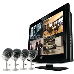 "19"" LCD All-In-One Security System with 4 Hi-Res Indoor/Outdoor Cameras"