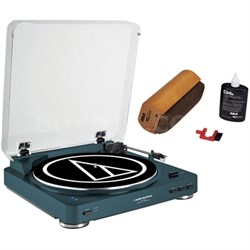 Wireless Belt-Drive Stereo Turntable w/ RCA D4+ Vinyl Record Cleaner, Navy