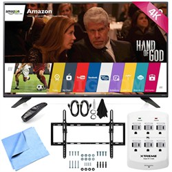 60UF7700 - 60-inch 240Hz 2160p 4K LED UHD TV w/ WebOS Tilt Mount/Hook-Up Bundle
