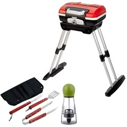 Petit Gourmet Portable Gas Grill with VersaStand with BBQ Bundle