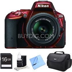 D5500 Red DSLR Camera 18-55mm Lens and 16GB Bundle