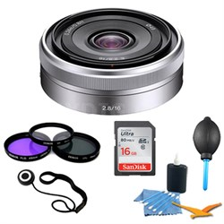 SEL16F28 - 16mm f/2.8 Wide-Angle Lens for NEX Series Cameras Essentials Kit
