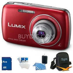 Lumix DMC-S3 14MP Compact Red Digital Camera w/ 720p HD Video 4GB Bundle