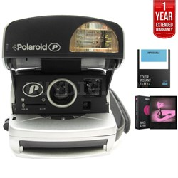 Polaroid 600 Round Camera Silver + 1 Year Extended Warranty Bundle