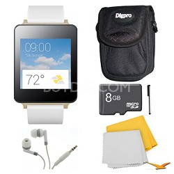 Android Wear White Smart G Watch, 8GB Card, and Case Bundle