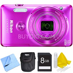 COOLPIX S6900 16MP Full HD 1080p Digital Camera - Pink Bundle