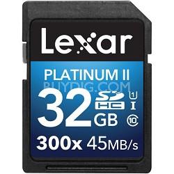 Platinum II 300x SDHC 32GB UHS-I/U1 Flash Memory Card - 2 Pack
