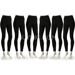 6-Pack Fleece Lined Leggings Midnight Black X-Large Size ( 1X/2X )