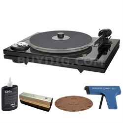 2-Speed Audiophile Black Turntable w/o Cartridge + Record Cleaner Kit
